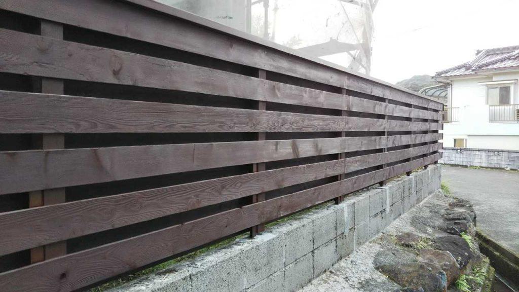 木製の塀塗装