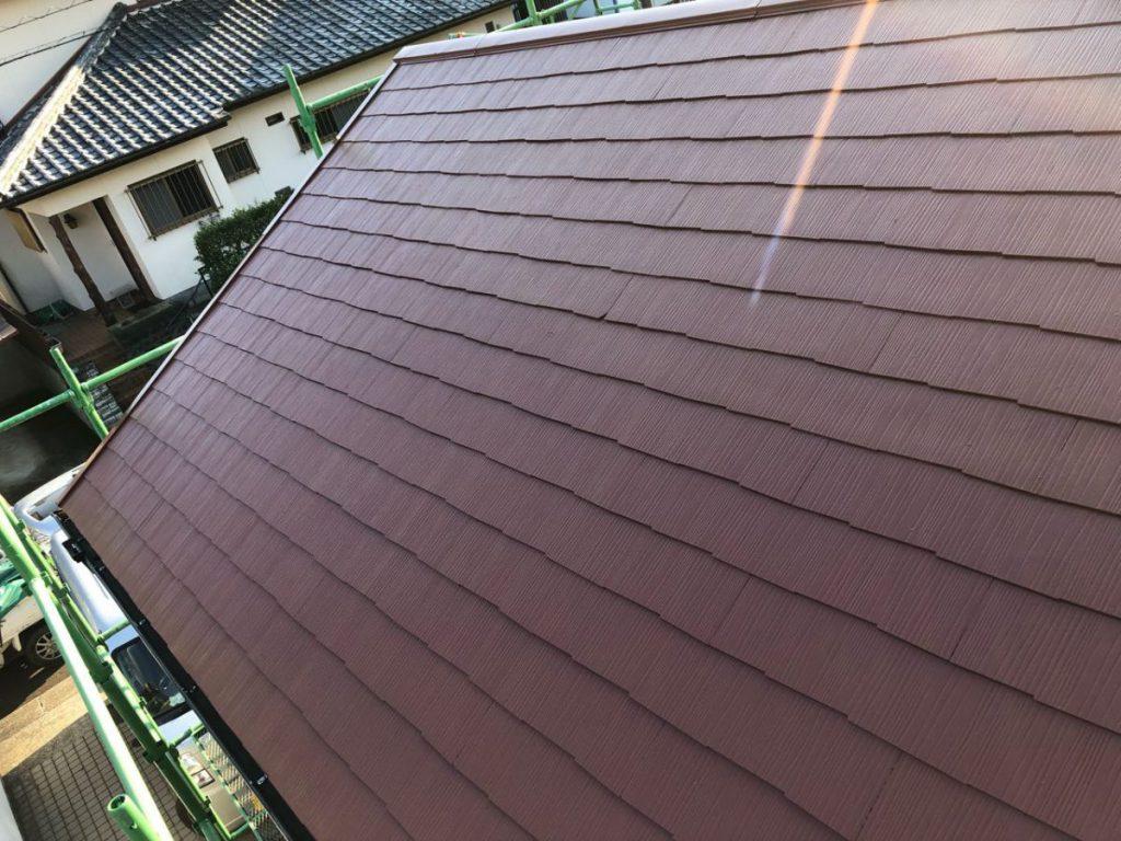 屋根赤色塗装 完成