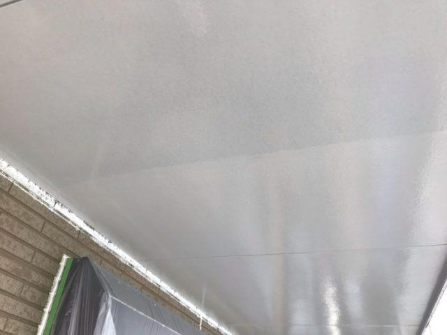 【宮崎県宮崎市】日ノ出にあるFRP防水ベランダの住宅で足場設置・養生・高圧洗浄を行います軒天上塗り_1_確定