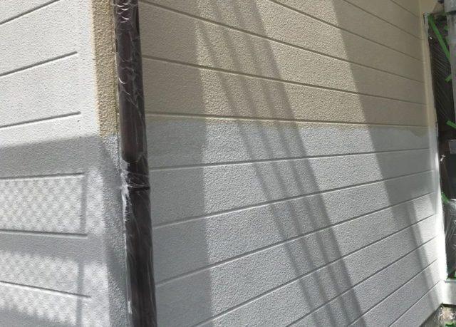 【宮崎県宮崎市】神宮にあるセメント瓦屋根の住宅で足場設置・養生・高圧洗浄を行います外壁中塗り_1_確定