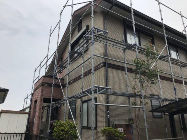 【宮崎県宮崎市】日ノ出にあるFRP防水ベランダの住宅で足場設置・養生・高圧洗浄を行います足場設置_1_確定