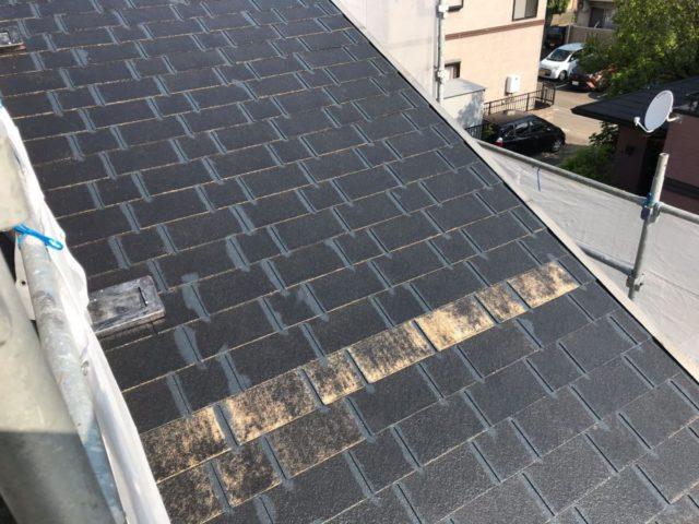 【宮崎県宮崎市】日ノ出にあるFRP防水ベランダの住宅で足場設置・養生・高圧洗浄を行います屋根下塗り_1_確定
