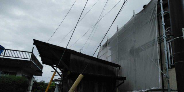 【鹿児島県曽於郡】大崎町にあるスレート屋根の住宅で足場設置・養生・高圧洗浄を行います水養生_1_確定