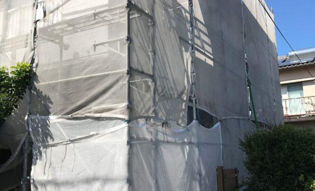 【宮崎県宮崎市】神宮にあるセメント瓦屋根の住宅で足場設置・養生・高圧洗浄を行います水養生_1_確定