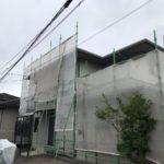 【宮崎県宮崎市】大坪東にあるセメント瓦屋根とFRP防水ベランダの住宅で仮設足場・高圧洗浄・シーリング工事を行います水養生_1_確定