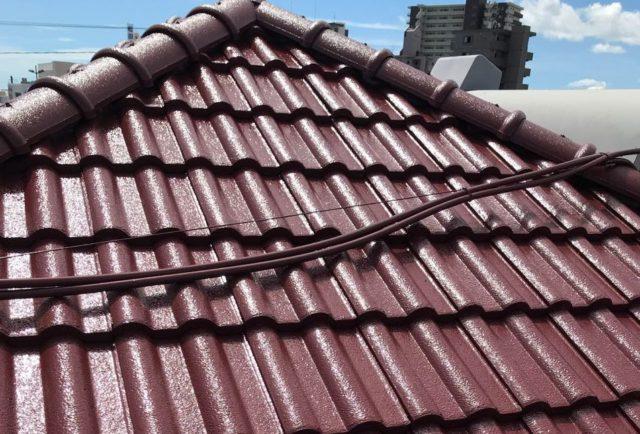 【宮崎県宮崎市】神宮にあるセメント瓦屋根の住宅で足場設置・養生・高圧洗浄を行います屋根上塗り_1_確定