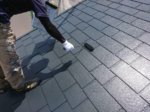 【宮崎県宮崎市】日ノ出にあるFRP防水ベランダの住宅で足場設置・養生・高圧洗浄を行います屋根上塗り_1_確定