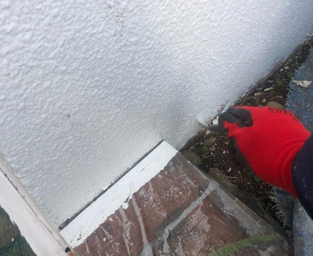 【宮崎県宮崎市】大橋にある住宅でモルタル外壁をセミフロンマイルドで塗装した工事壁下