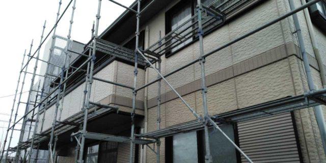 【宮崎県宮崎市】宮脇町にある大和ハウスの建築住宅で128平方メートルの外壁と、屋根を塗装した工事足場