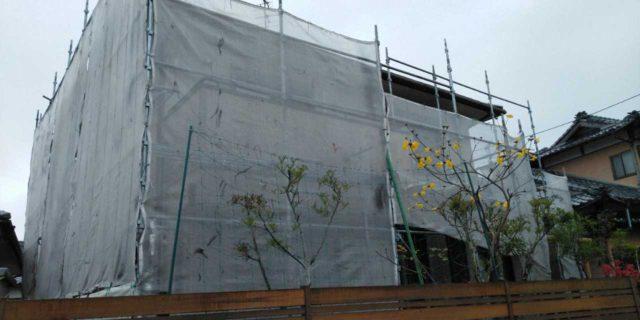 【宮崎県宮崎市】島之内にある万代ホームの築16年の住宅で外壁・防水塗装をした工事養生