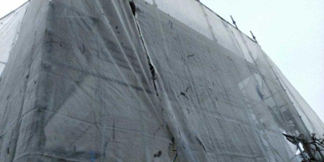 【宮崎県宮崎市】宮脇町にある大和ハウスの建築住宅で128平方メートルの外壁と、屋根を塗装した工事養生
