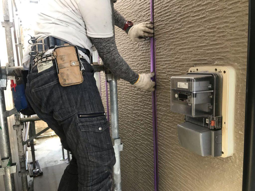 いちき串木野市 外壁補修工事の様子
