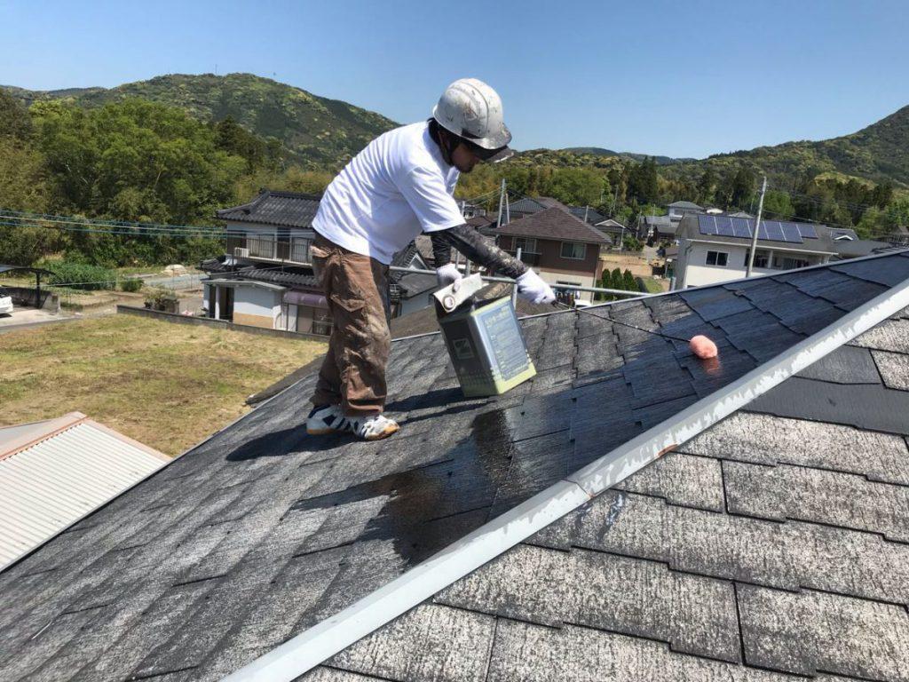 いちき串木野市屋根塗装工事の様子