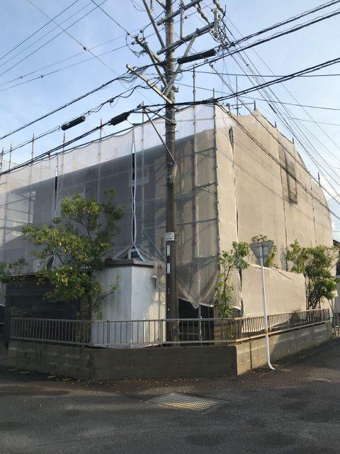 宮崎市塗装足場設置の様子