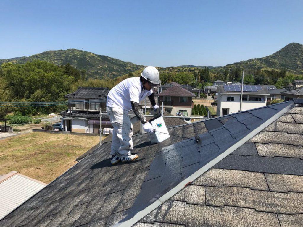 いちき串木野市屋根塗装中塗りの様