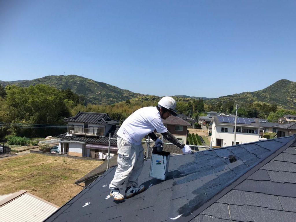 いちき串木野市屋根塗装の様子