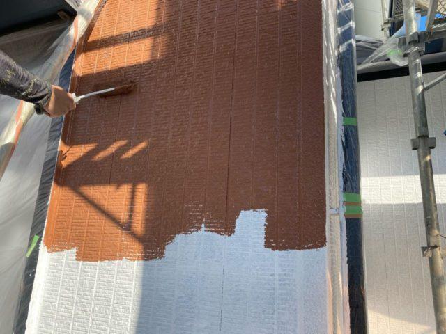 【宮崎県宮崎市】花山手にある41坪の住宅でスーパーセラタイトFを使った外壁塗装と、屋根の塗装工事外壁中塗り