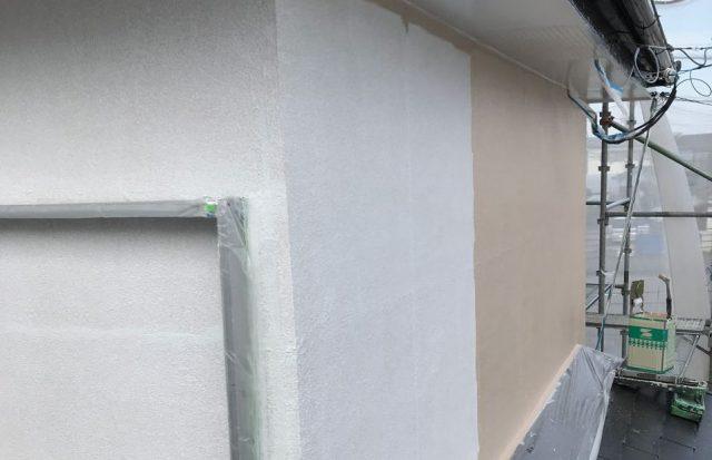 【宮崎県宮崎市】大字田吉でモルタル外壁とセメント瓦を塗装した工事外壁中塗り