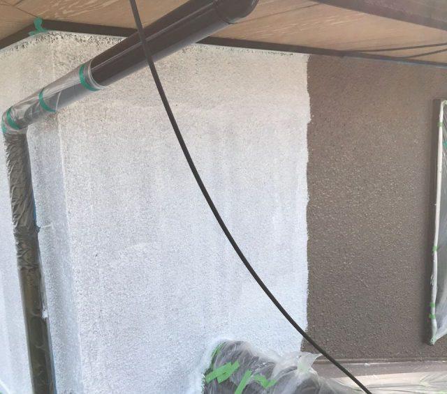 【宮崎県宮崎市】希望ヶ丘で111平方メートルの外壁と付帯部を塗装した工事外壁中塗り