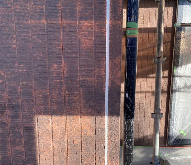 【宮崎県宮崎市】本郷にある41坪の住宅でスーパーセラタイトFを使った外壁塗装と、屋根の塗装工事シーリング