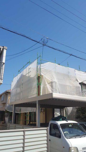 鹿児島市の塗装工事仮設足場の設置
