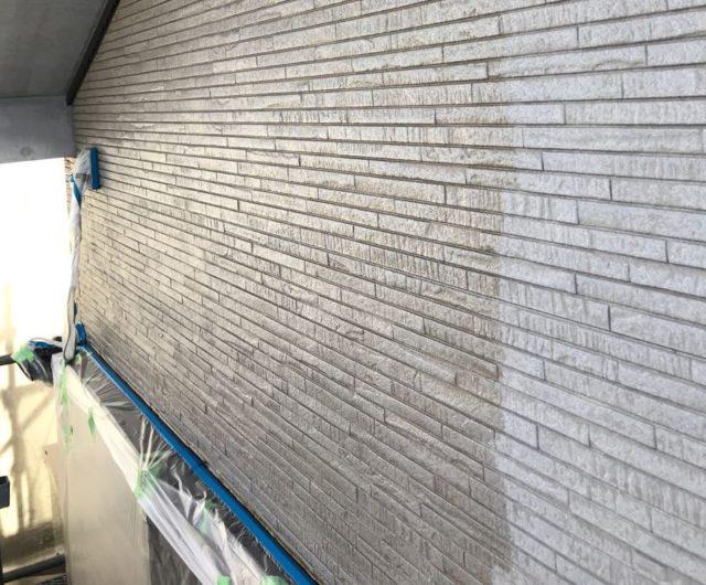 【宮崎県東諸県郡】国富町における陶器瓦の屋根がある住宅で外壁・付帯部塗装をした工事壁下
