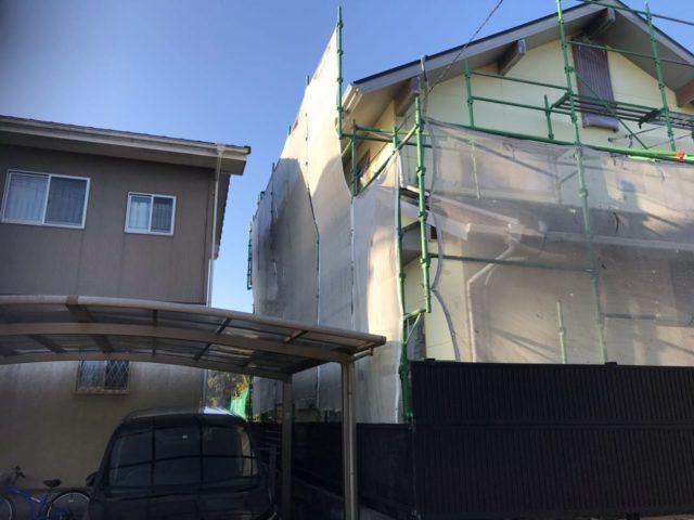 【宮崎県宮崎市】薫る坂にあるALC外壁の住宅で外壁・屋根・付帯部塗装をした工事養生