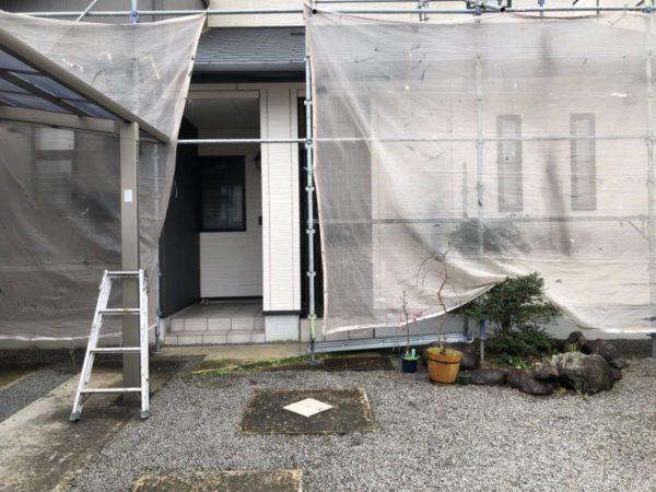 【宮崎県都城市】都北町にある29坪の住宅で外壁・屋根・付帯部塗装をした工事養生