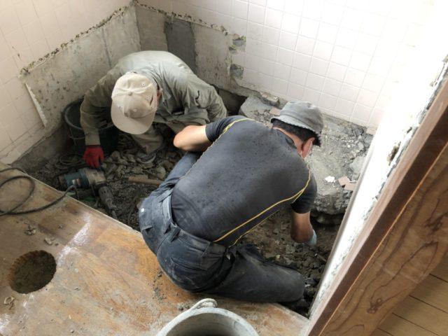 鹿児島日置市お風呂リフォーム解体の様子