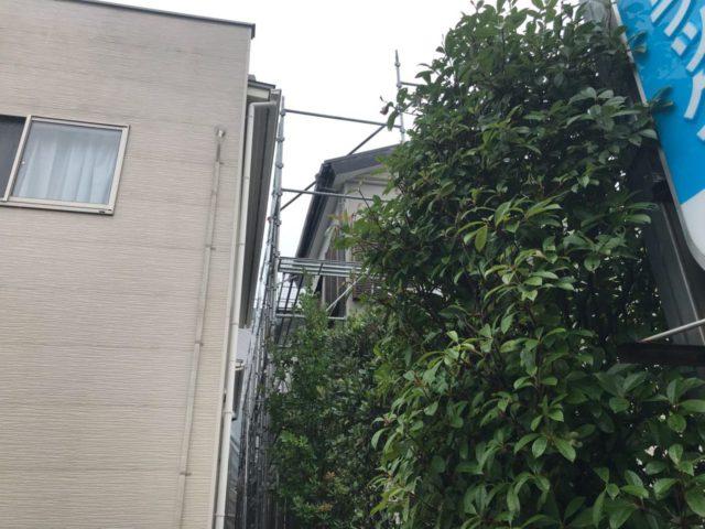 【宮崎県宮崎市】花ヶ島町立野にある45坪の住宅で外壁塗装のための足場を設置します足場設置_1_確定