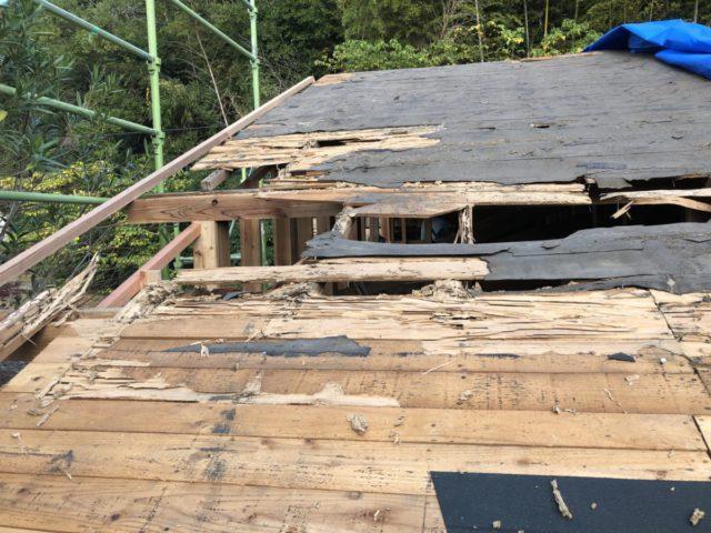 屋根に穴が開いている様子