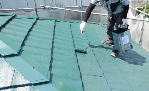 【鹿児島地域】サイディング外壁を肌色に、瓦屋根を緑色に塗装していきます!屋根上塗り_1_確定