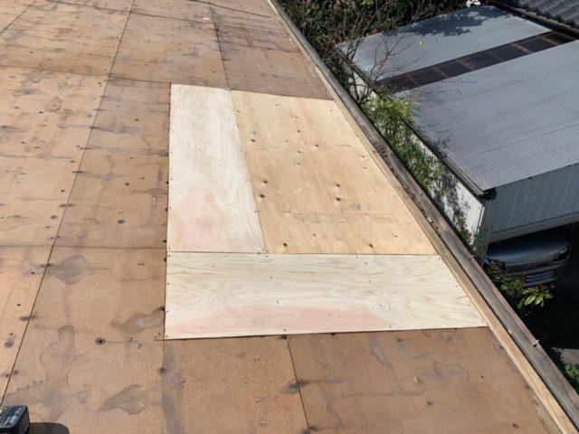 屋根葺き替え一部補修の様子