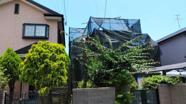 鹿児島市外壁塗装着工の様子
